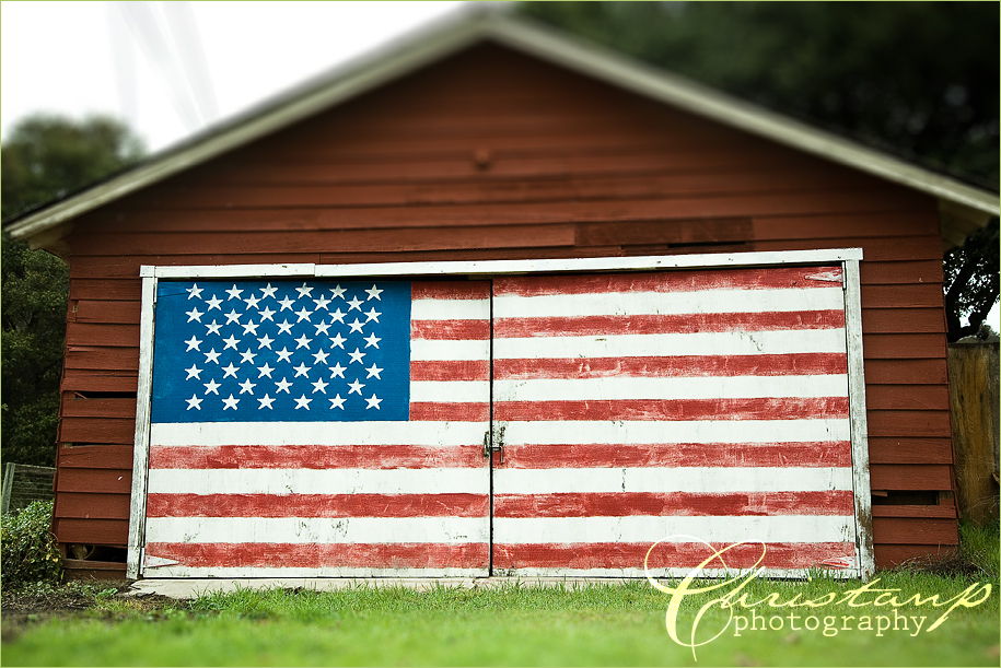 An American Flag Painted on a Garage